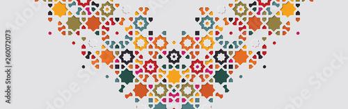 Tablou Canvas Arabic arabesque design greeting card for Ramadan Kareem, Islamic ornamental col