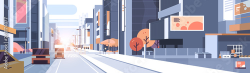 Fényképezés cars driving road traffic urban street skyscraper building view modern cityscape