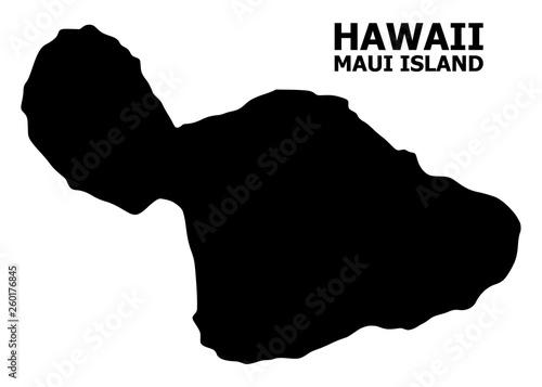 Stampa su Tela Vector Flat Map of Maui Island with Caption