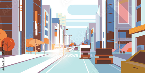Vászonkép cars driving road traffic urban street skyscraper building view modern cityscape