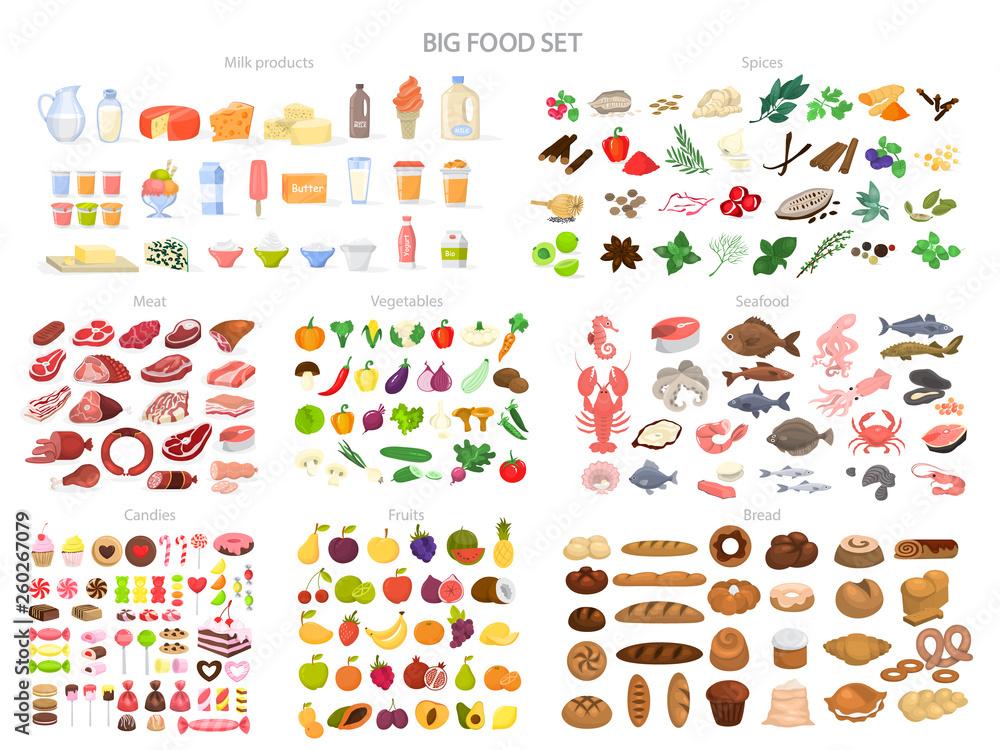 Zestaw do jedzenia. Kolekcja różnych posiłków, ryb i mięsa <span>plik: #260267079 | autor: artinspiring</span>