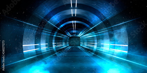 Valokuva Abstract tunnel, corridor with rays of light and new highlights