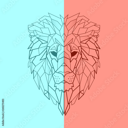 Fototapeta Geometric low-poly lion banner