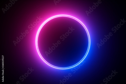 Fotografia 3d render, blue pink neon round frame, circle, ring shape, empty space, ultravio