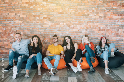 Millennials hanging out in lounge zone Fototapet
