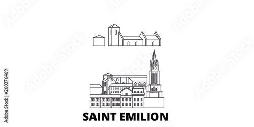 Tablou Canvas France, Saint Emilion  flat travel skyline set