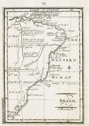 Canvas Print Old map. Engraving image