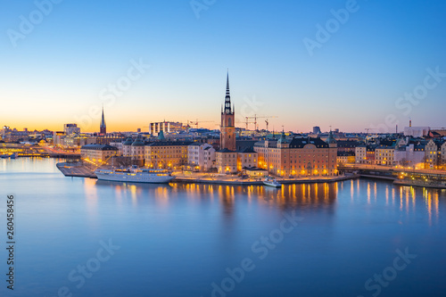 Canvas Print Night view of Stockholm city skyline old town in Sweden