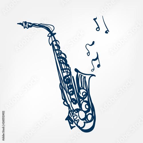 Stampa su Tela saxophone sketch vector illustration isolated design element