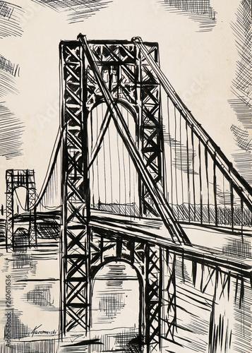 Plakat Pejzaż z Nowego Yorku rysowany ołówkiem