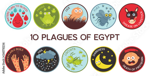 Passover Ten Plagues of Egypt cartoon- Vector Fototapeta