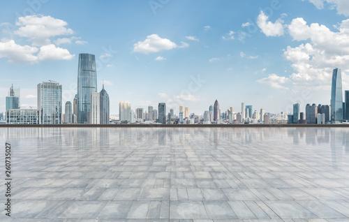 city skyline and square ground