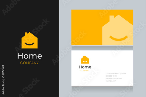 smile house logo with business card template.