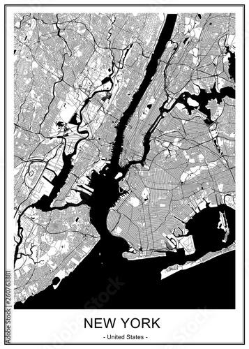 Canvas Print map of the New York City, NY, USA