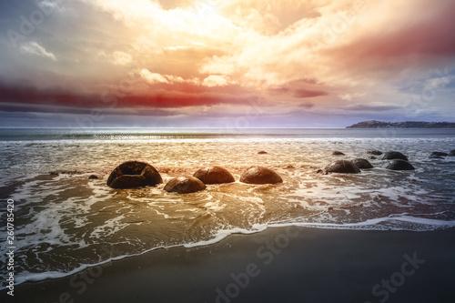 Carta da parati boulders at the beach of Moeraki New Zealand