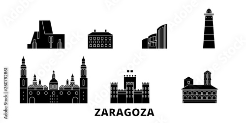 Spain, Zaragoza flat travel skyline set. Spain, Zaragoza black city vector panorama, illustration, travel sights, landmarks, streets.