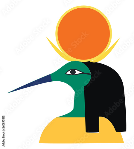 Photo Clipart of an Egyptian god of music writing wisdom and the moon vector color dra