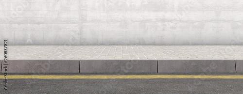 Fotografia Pavement Street And Wall Backdrop
