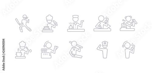 Fotografia simple gray 10 vector icons set such as callcenter, captain, carpenter, cashier, chef, chemist, clerk