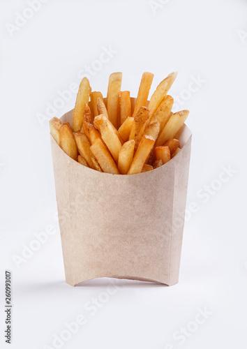 french fries in box on white background Fototapeta
