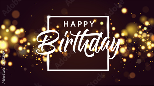 Canvas Print Happy birthday golden bokeh sparkle glitter luxury glamor background