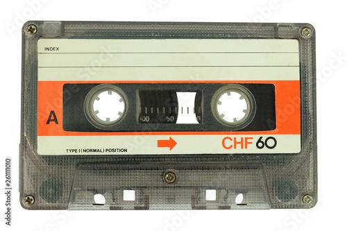 Fototapeta Old cassette tape isolated on a white background