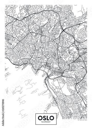 Wallpaper Mural City map Oslo, travel vector poster design