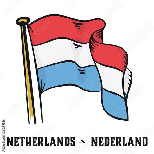 Wallpaper Mural Vintage engraving style Netherlands flag vector illustration