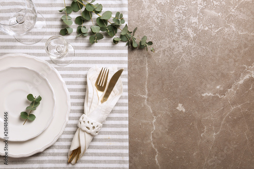 Stylish elegant table setting on marble background, top view Fototapeta
