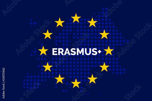 Photo Erasmus on European union map with europe dots shaped map