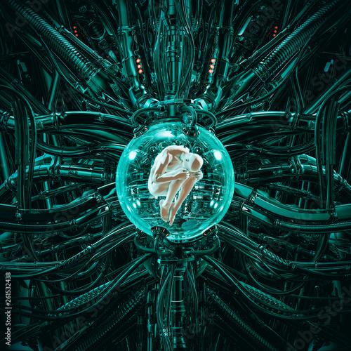 Fotografia The human pod / 3D illustration of science fiction scene showing human male figu