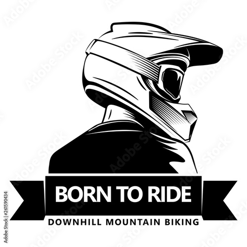 Obraz na plátně Back shot of man with full face motocross helmet