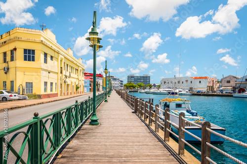 Obraz na plátně Promenade at marina of Bridgetown, Barbados.