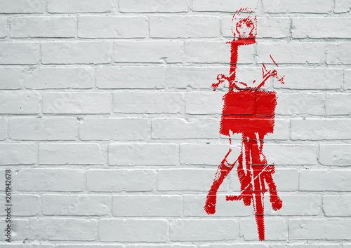 Obraz premium Sztuka uliczna. Kobieta, jazda na rowerze