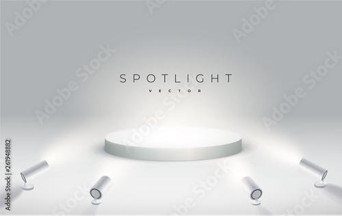 Obraz na plátne four spotlights shine from the bottom to the podium