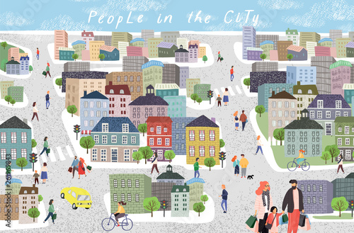 People in the city Fototapeta