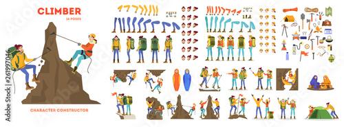 Obraz na płótnie Mountain climber animation set. Active and extreme