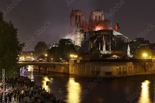 Fotografie, Obraz Burning roof of Notre Dame cathedral on April 15th, 2019 in Paris, Frrance