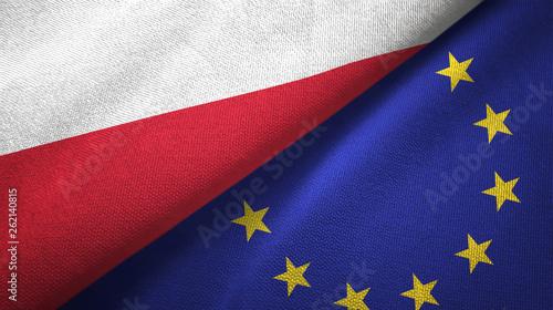 Photo Poland and European Union two flags textile cloth, fabric texture