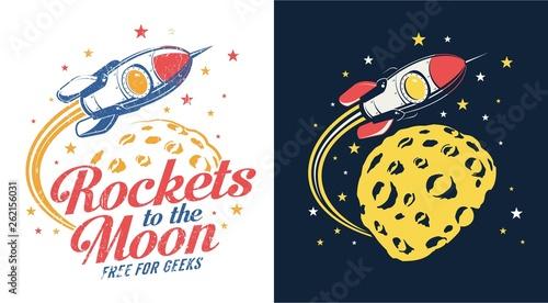 Fotografia Rocket moon flying - retro logo vector illustration