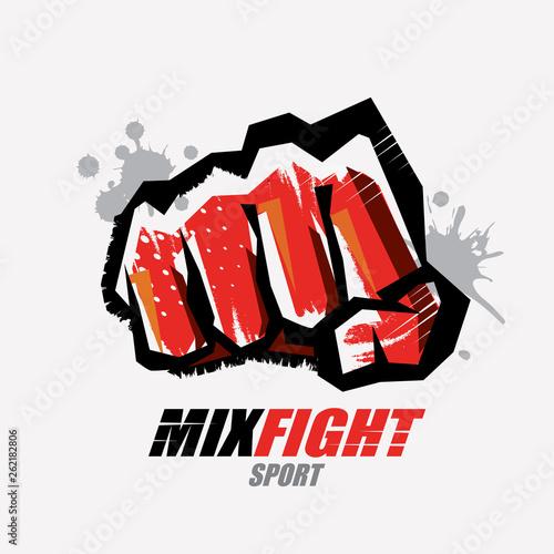 Photo fist symbol, martial arts concept, logo or emblem template