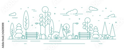 Monochrome banner template with city park or garden, trees, bushes, street lights and benches. Urban recreational area or zone. Creative colorful vector illustration in modern line art style.