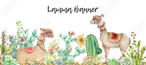 Canvas Print Desert Lama banner watercolor