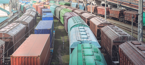 Photo Railway wagons with cargo of metal and grain in port of Odessa