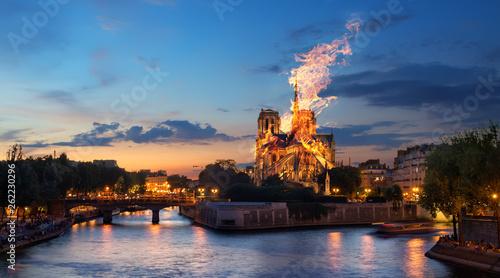 Stampa su Tela Fire Notre Dame