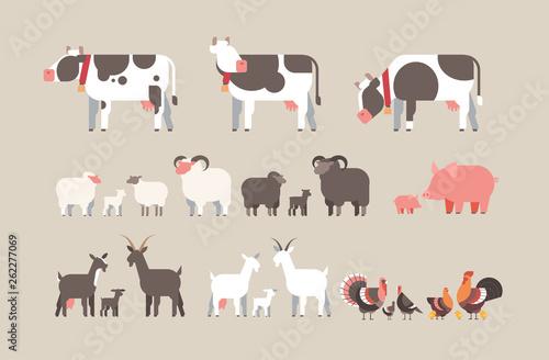 Carta da parati set farm animal cow goat pig turkey sheep chicken icons different domestic anima
