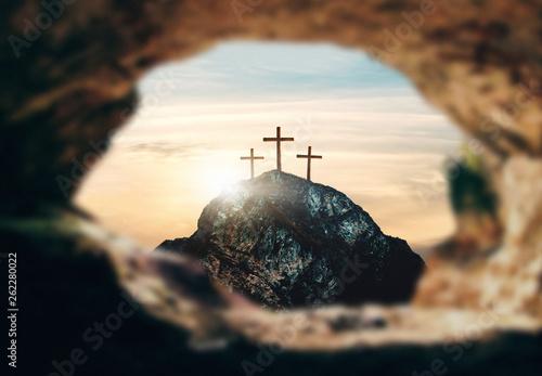 Cuadros en Lienzo Crucifixion of Jesus Christ, three crosses on hill, 3d rendering