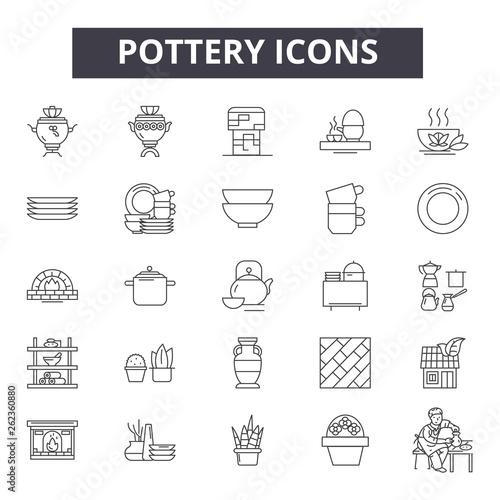 Slika na platnu Pottery line icons, signs set, vector