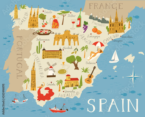 Fotografia Vector high detailed vector map of Spain with cities and symbols of Spain