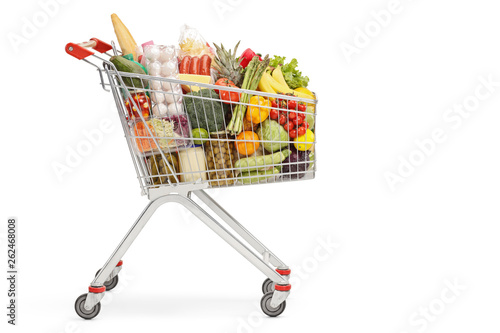 Cuadros en Lienzo Shopping cart with food products